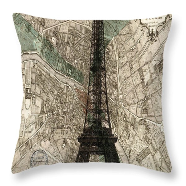 Paris Vintage Map And Eiffel Tower Throw Pillow by Nomad Art And  Design