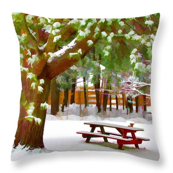 Park In Winter With Snow Throw Pillow by Lanjee Chee