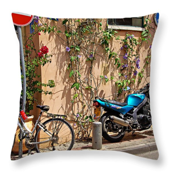 Parking Corner Throw Pillow by Zalman Latzkovich