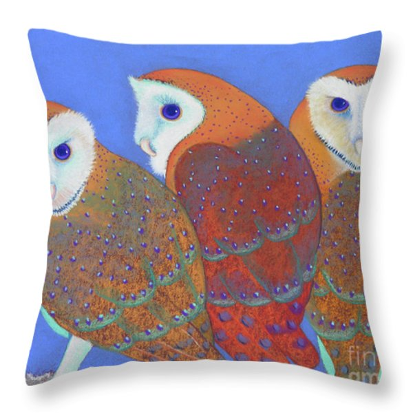 Parliament Of Owls Detail 2 Throw Pillow by Tracy L Teeter