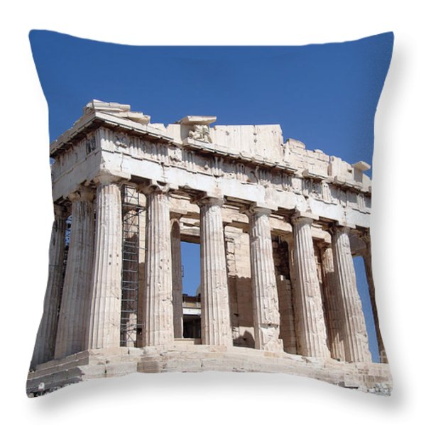 Parthenon front Facade Throw Pillow by Jane Rix
