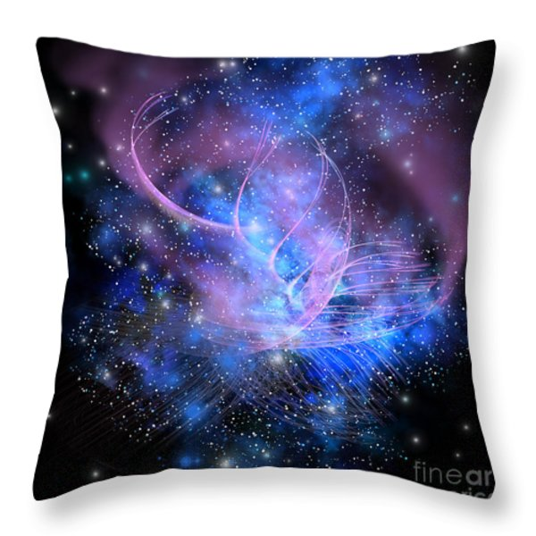 Particle Fountain Throw Pillow by Corey Ford