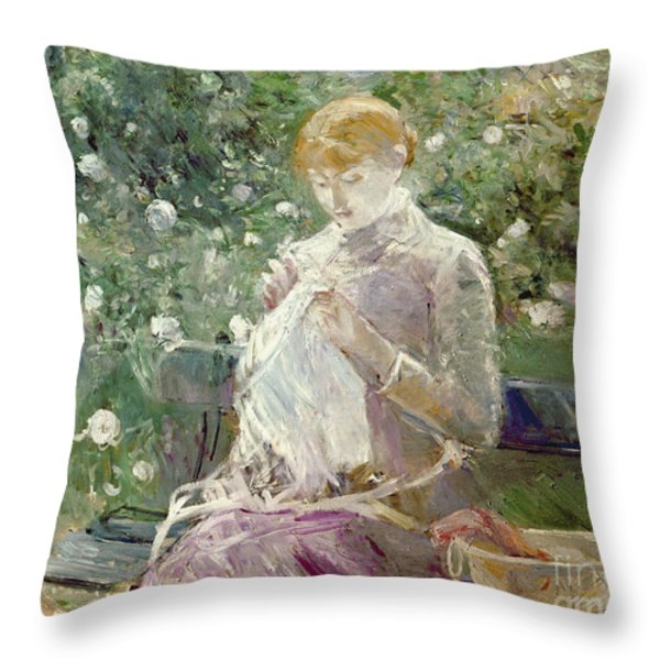 Pasie Sewing In Bougivals Garden Throw Pillow by Berthe Morisot