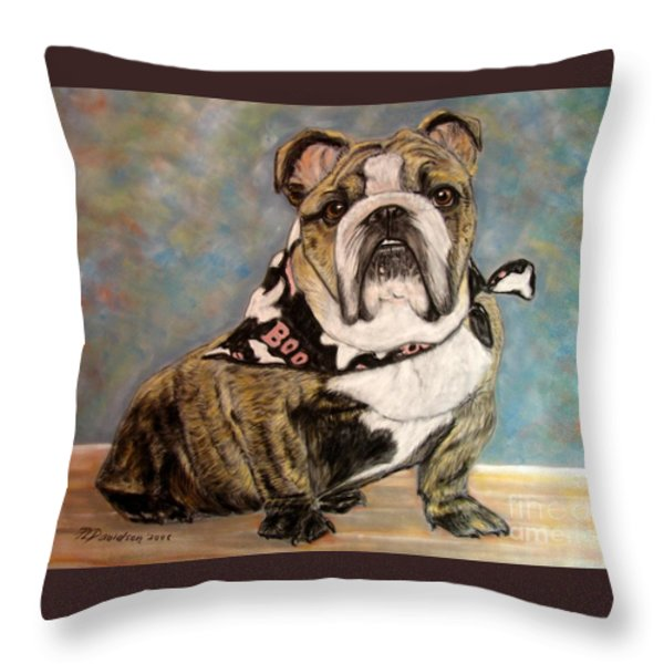 Pastel English Brindle Bull Dog Throw Pillow by Patricia L Davidson