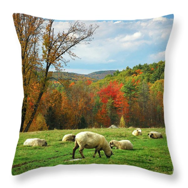 Pasture - New England Fall Landscape Sheep Throw Pillow by Jon Holiday