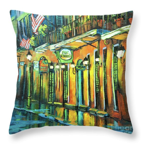 Pat O Briens Throw Pillow by Dianne Parks