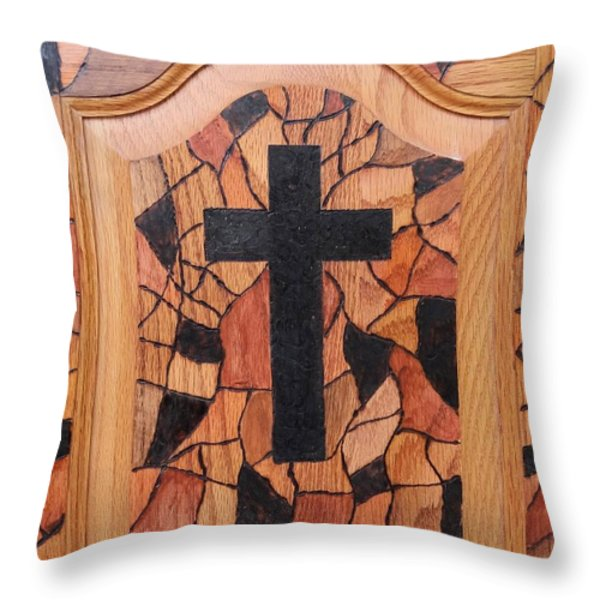Patchwork And Cross Throw Pillow by Lisa Brandel