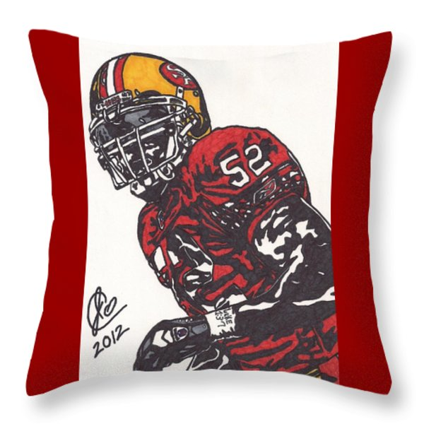 Patrick Willis Throw Pillow by Jeremiah Colley