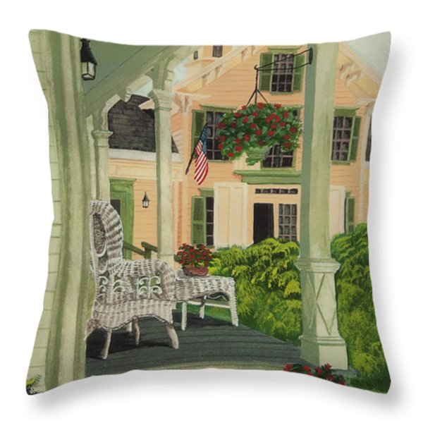 Patriotic Country Porch Throw Pillow by Charlotte Blanchard