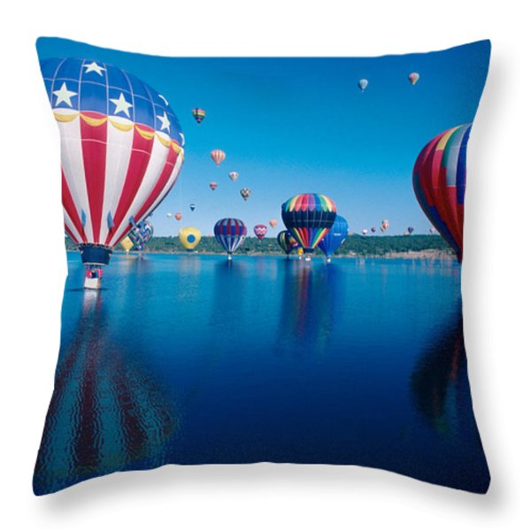 Patriotic Hot Air Balloon Throw Pillow by Jerry McElroy
