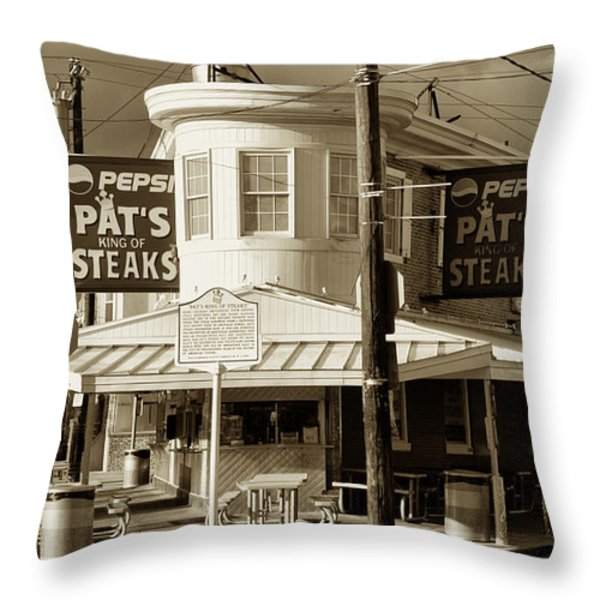 Pat's King of Steaks - Philadelphia Throw Pillow by Bill Cannon