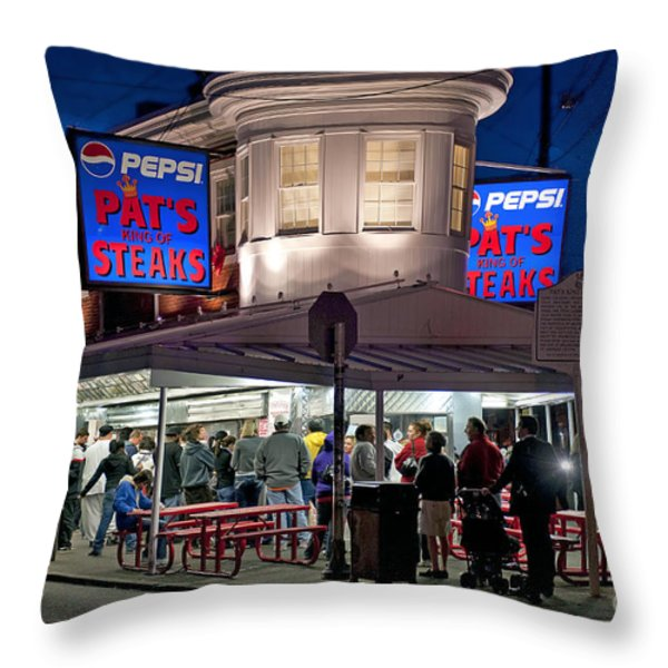 Pat's Steaks Throw Pillow by John Greim