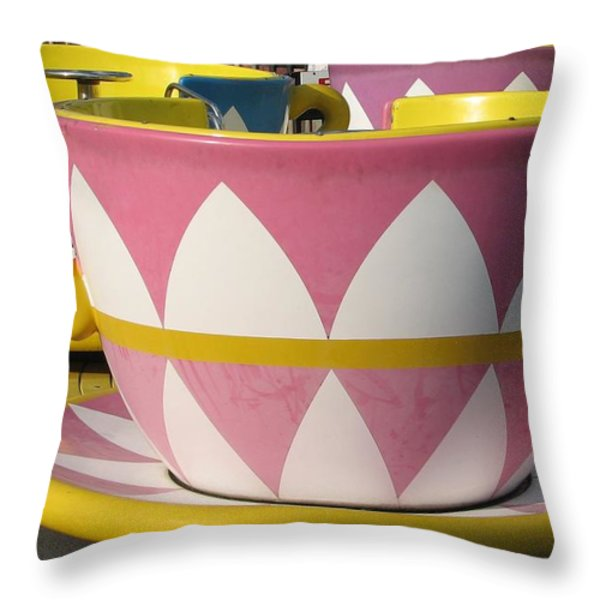 Pavilion Tea Cups Throw Pillow by Kelly Mezzapelle