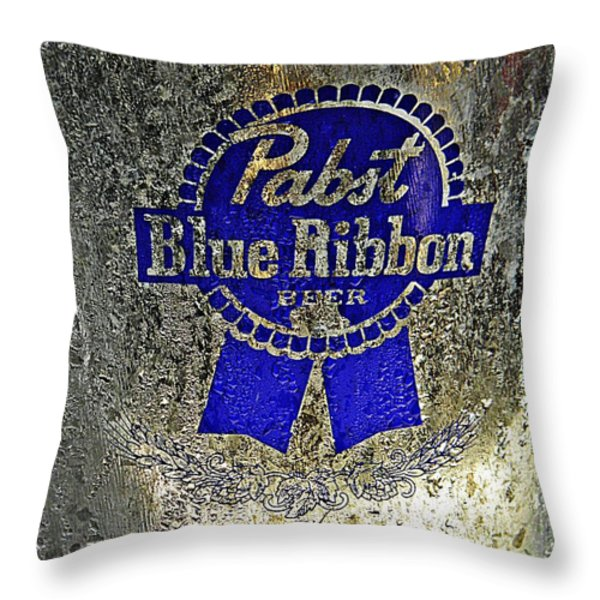 Pbr  Bucket O Beer  Throw Pillow by Chris Berry