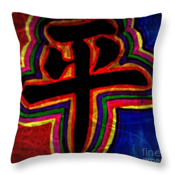 Peace, Chinese Symbol Throw Pillow by WBK
