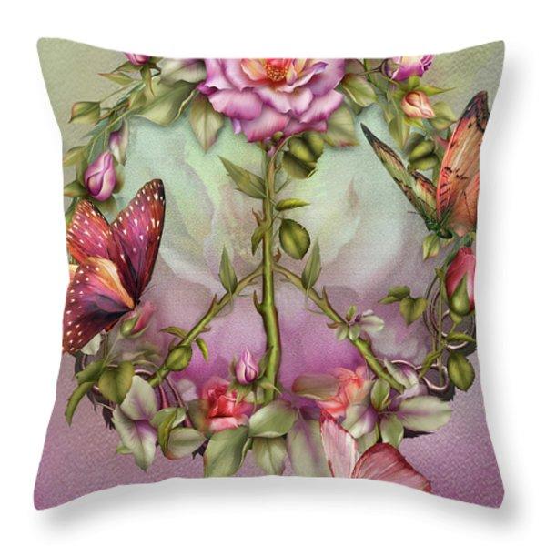 Peace Rose Throw Pillow by Carol Cavalaris