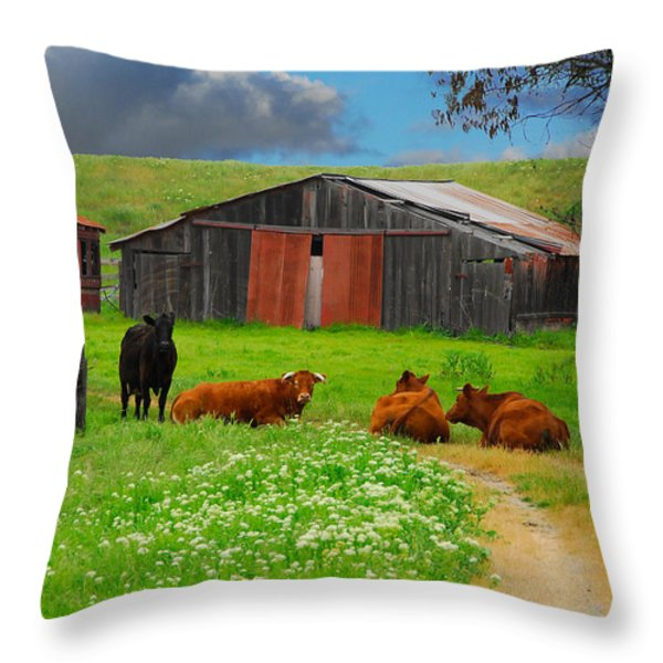 Peaceful Cows Throw Pillow by Harry Spitz