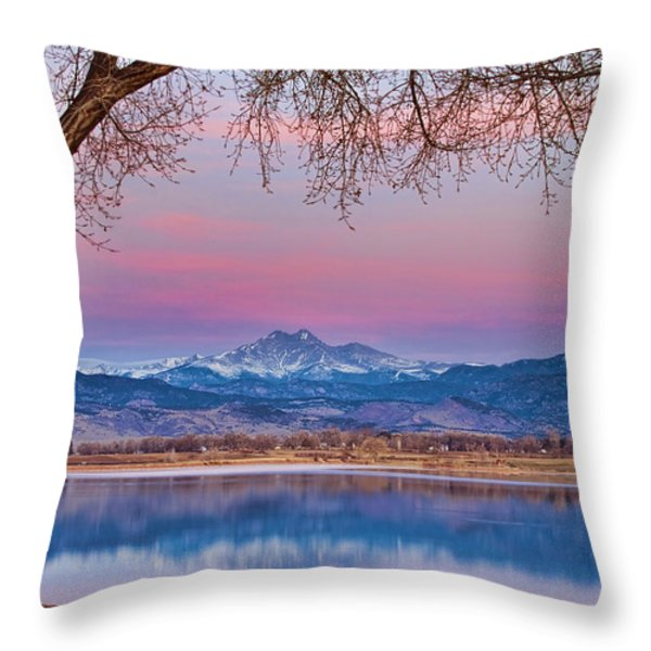 Peaceful Early Morning First Light Longs Peak View Throw Pillow by James BO  Insogna