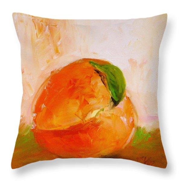 Peach Throw Pillow by Cathy McIntire