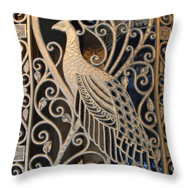 Peacock Door II - The Palmer House In Chicago Throw Pillow by Suzanne Gaff