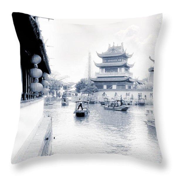 Pearl Stream River Blues - Zhujiajiao near Shanghai Throw Pillow by Christine Till