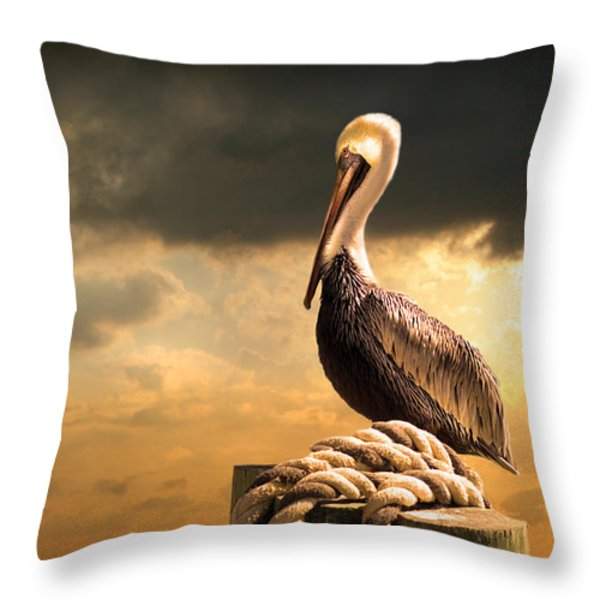 Pelican After A Storm Throw Pillow by Mal Bray