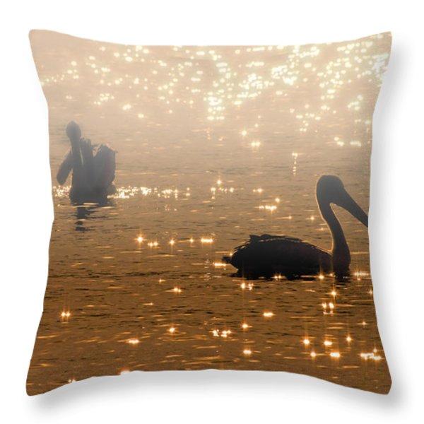 Pelican Sunrise Throw Pillow by Mike  Dawson