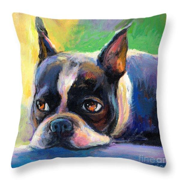 Pensive Boston Terrier Dog Painting Throw Pillow by Svetlana Novikova