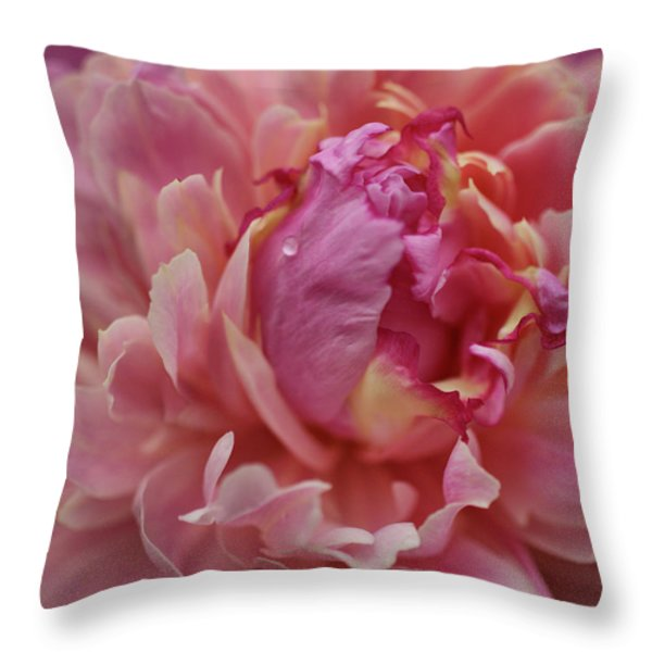 Peony Opening Throw Pillow by Sandy Keeton