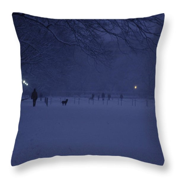 People Walk Their Dogs Throw Pillow by Stacy Gold