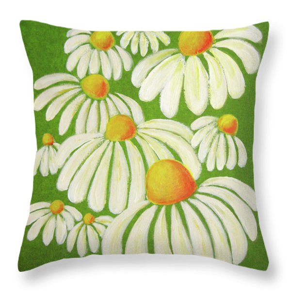 Perky Daisies Throw Pillow by Oiyee  At Oystudio