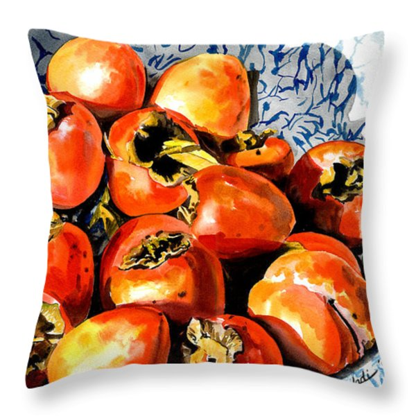 Persimmons Throw Pillow by Nadi Spencer