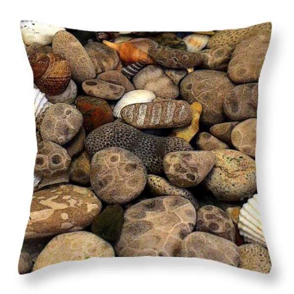Petoskey Stones With Shells L Throw Pillow by Michelle Calkins