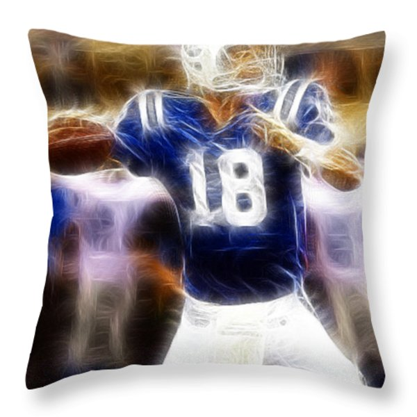 Peyton Manning Throw Pillow by Paul Ward