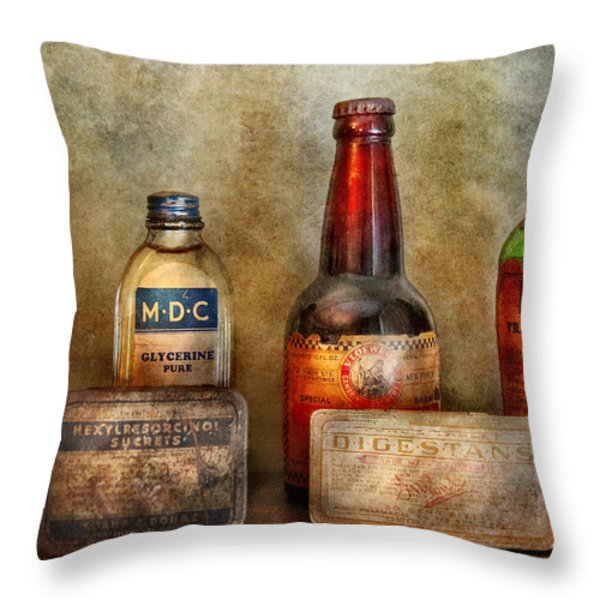 Pharmacist - On A Pharmacists Counter Throw Pillow by Mike Savad