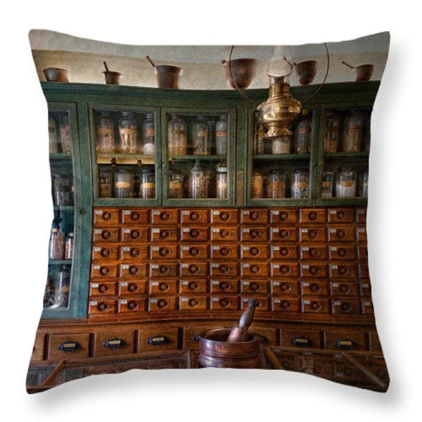 Pharmacy - Right behind the counter Throw Pillow by Mike Savad