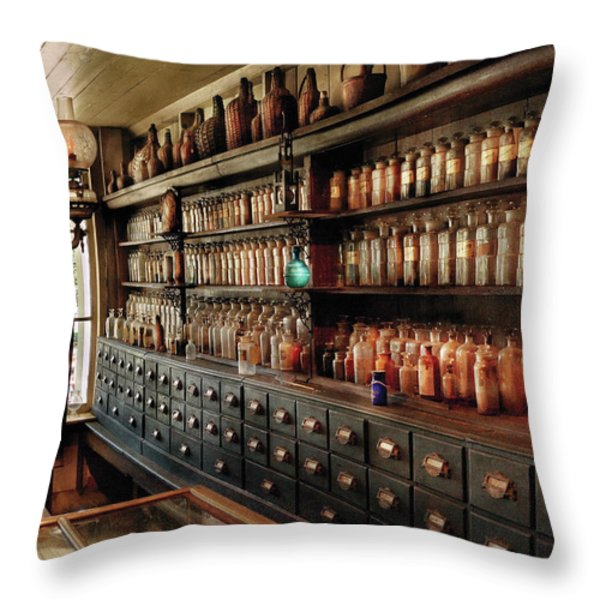 Pharmacy - So many drawers and bottles Throw Pillow by Mike Savad