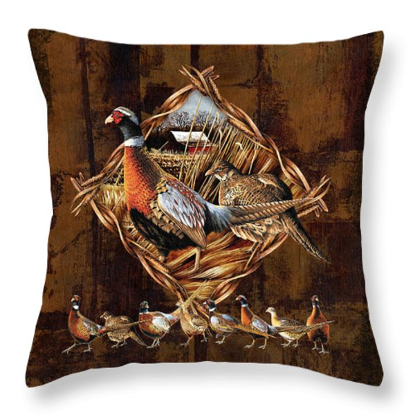 Pheasant Lodge Throw Pillow by JQ Licensing