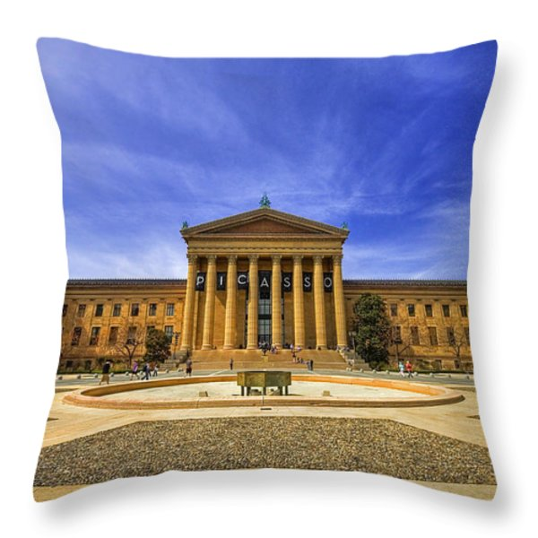 Philadelphia Art Museum Throw Pillow by Evelina Kremsdorf
