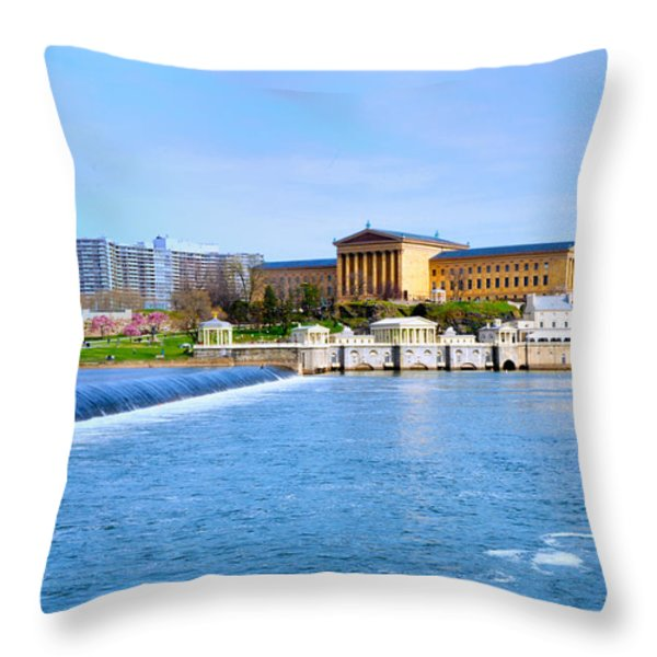 Philadelphia Museum Of Art And The Philadelphia Waterworks Throw Pillow by Bill Cannon