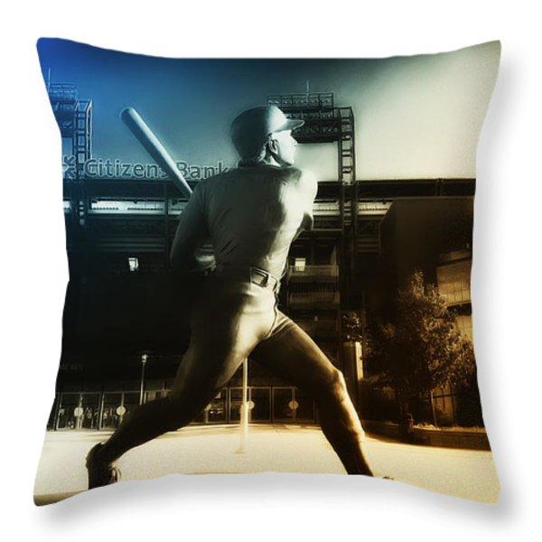 Philadelphia Phillie Mike Schmidt Throw Pillow by Bill Cannon