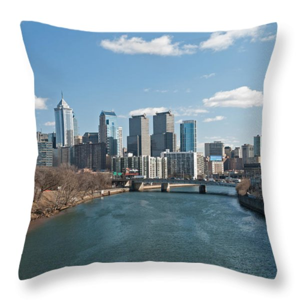 Philly Winter Throw Pillow by Jennifer Ancker