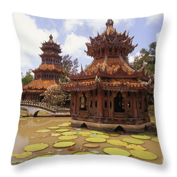 Phra Kaew Pavillion Throw Pillow by Bill Brennan - Printscapes