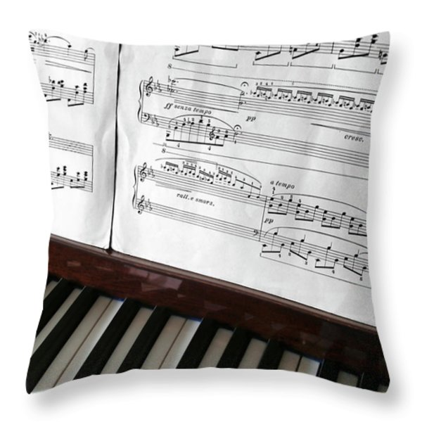 Piano Keys Throw Pillow by Carlos Caetano