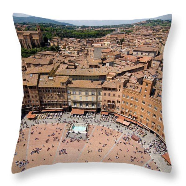 Piazza Del Camp In The Center Throw Pillow by Joel Sartore