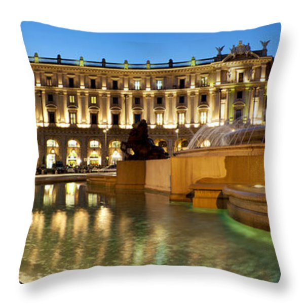 Piazza Della Repubblica Throw Pillow by Fabrizio Troiani