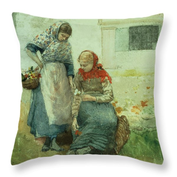 Picking Flowers Throw Pillow by Winslow Homer