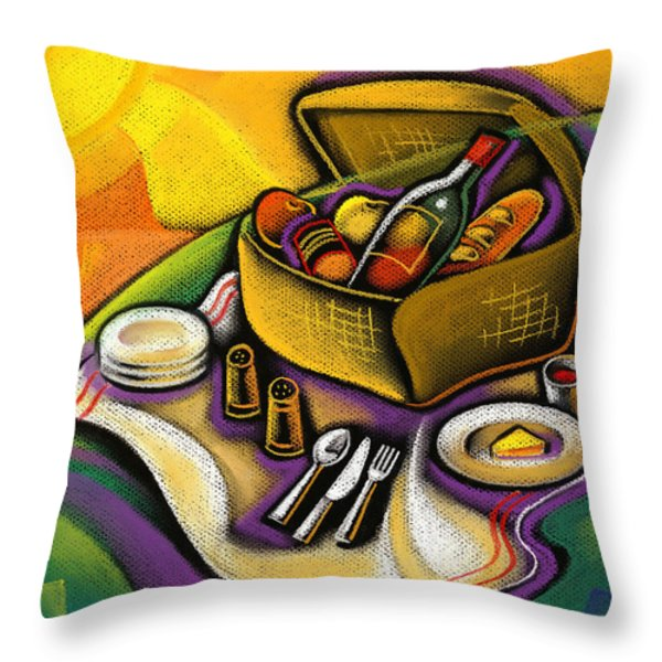 Picnic Throw Pillow by Leon Zernitsky