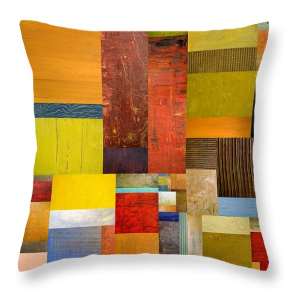 Pieces Project L Throw Pillow by Michelle Calkins