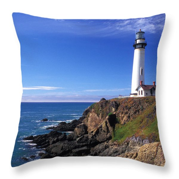 Pigeon Point Lighthouse 2 Throw Pillow by Kathy Yates